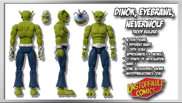 Unstoppable Comics Action Figures 04 Dino, Eyebrawl, Neverwolf Troop Builder - Surveillance Port